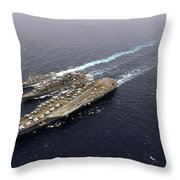An Underway Replenishment With Ships Throw Pillow