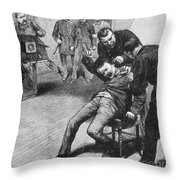 Anarchist Being Held Down For Mug Shot Throw Pillow