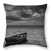 Anchored Row Boat Looking Out To Sea Throw Pillow
