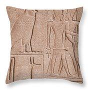 Ancient Stone Carvings, Karnak, Egypt Throw Pillow