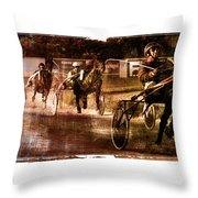 and the winner is - A vintage processed Menorca trotting race Throw Pillow