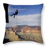 Andy Marquardt Rappels Down A Cliff Throw Pillow