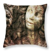 Angel Cast In Stone Throw Pillow