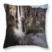 Angel Falls, With Plane For Scale Throw Pillow