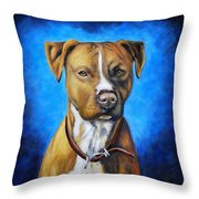 American Staffordshire Terrier Dog Painting Throw Pillow