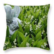 Angel In The Lilies Throw Pillow