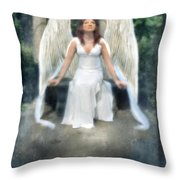 Angel On Stone Bench Looking Up Into The Light Throw Pillow