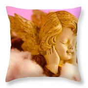 Angel Resting On Clouds And Enjoying The Sun Throw Pillow