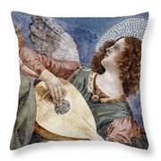Angel With A Lute Throw Pillow