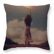 Angel With Parasol Throw Pillow
