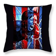 Anger In Red And Blue Throw Pillow