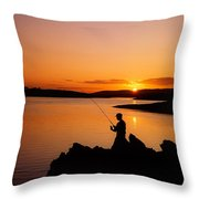 Angler At Sunset, Roaring Water Bay, Co Throw Pillow by The Irish Image Collection