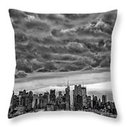 Angry Skies Over Nyc Throw Pillow