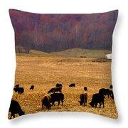 Angus And Oaks  Farm Throw Pillow