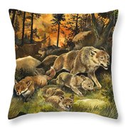 Animals United In Terror As They Flee From A Forest Fire Throw Pillow