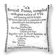 Anne Bradstreet Title-page Throw Pillow