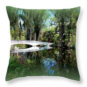Another White Bridge In Magnolia Gardens Charleston Sc II Throw Pillow