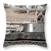 Anti-aircraft Guns Mounted On An M109 Throw Pillow
