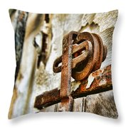 Antique - Door Rail - Rusty Throw Pillow