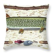 Antique Birch Pike And Lure Throw Pillow