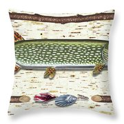 Antique Birch Pike And Lure Throw Pillow by JQ Licensing