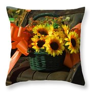 Antique Buggy And Sunflowers Throw Pillow