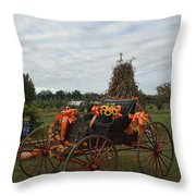 Antique Buggy In Fall Colors Throw Pillow