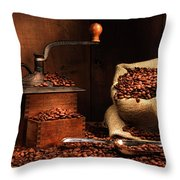 Antique Coffee Grinder With Beans Throw Pillow by Sandra Cunningham