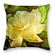 Antique Gardenia Blossom Throw Pillow