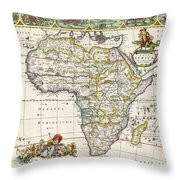 Antique Map Of Africa Throw Pillow by Dutch School
