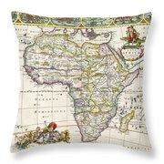 Antique Map Of Africa Throw Pillow