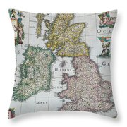 Antique Map Of Britain Throw Pillow
