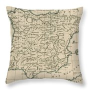 Antique Map Of Spain Throw Pillow