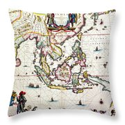 Antique Map Showing Southeast Asia And The East Indies Throw Pillow by Willem Blaeu