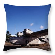 Antique Navy Seaplane Parked In Front Throw Pillow by Michael Wood