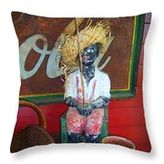 Antique Plaster Black Child Fisherman With Coca Cola Background Throw Pillow