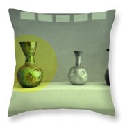 Antique Vases Still Life Altered II Throw Pillow