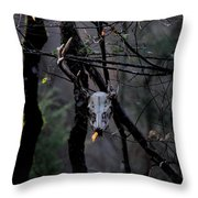Antlers - Skull - In The Air Throw Pillow
