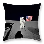 Apollo 14 Astronaut Stands Throw Pillow