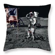 Apollo 17 Astronaut Salutes The United Throw Pillow