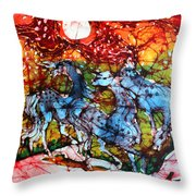 Appaloosas On A Fiery Night Throw Pillow by Carol Law Conklin