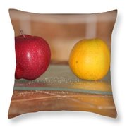 Apple And Orange Throw Pillow
