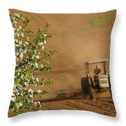 Apple Blossoms And Farmer On Tractor Throw Pillow