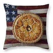 Apple Pie On Folk Art  American Flag Throw Pillow