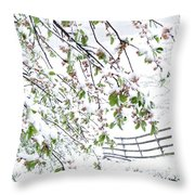Apple Tree In Bloom With Spring Snow Throw Pillow