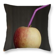 Apple With Straw Throw Pillow