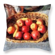 Apples And Bananas In Basket Throw Pillow