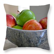 Apples In Fruit Bowl Throw Pillow