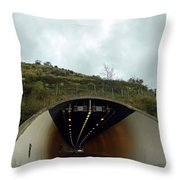 Approaching A Tunnel On A Highway In England Throw Pillow