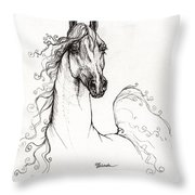 Arabian Horse Drawing 41 Throw Pillow